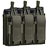 Tactical Mag Pouch for Rifle and Pistol, Open-Top Molle Double/Triple Magazine Pouches Holder Carrier for M4 M14 G36 HK416 Magazines and Glock 17 M1911 9MM (Army Green)