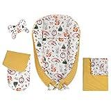 Nido de bebé, juego 5 en 1, capullo de bebé, saco de dormir de terciopelo Suave y acogedor, multifuncional, portátil, transpirable, almohada para el cuello, almohada plana (35 + mostaza)
