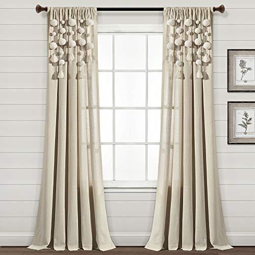 "Lush Decor Boho Pom Tassel Window Curtain (Single Panel), 84"" L x 52"" W, Dark Linen"