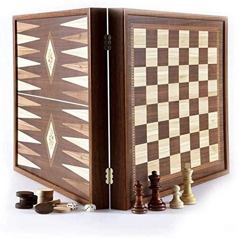 Manopoulos Kombi Backgammon - 3-in-1 - 41x41cm - Im Kiste - Schach Damespiel Backgammon - Mit Verschluss - Detailliert Marguetery - Komplettes Spiel - Detaillierte Marquetery Design