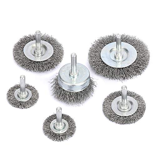Makitoyo Wire Wheel Brush Set 6PCS with 1/4 in Round Shank, 0.0118