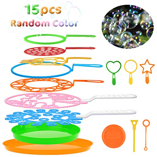 B bangcool Bubble Wands Set - Big Bubbles Wand Funny Bubbles Maker with Tray, Nice for Outdoor Playtime & Birthday Party & Games, Suitable for All Age People