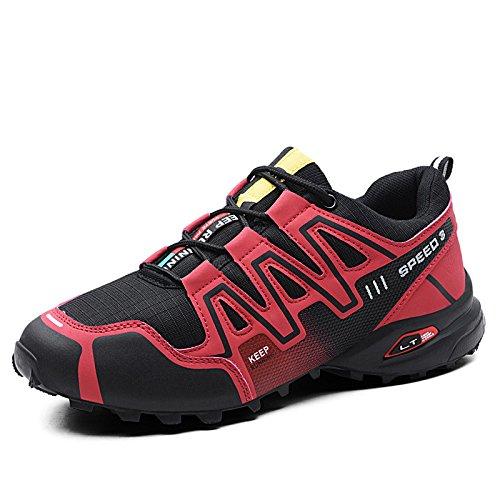 CHUIKUAJ Calzado de Ciclismo para Hombre Calzado de Ciclismo Indoor Sin Candado,Zapatos de Ciclismo de Bicicleta de Montaña Impermeables,Red-43EU
