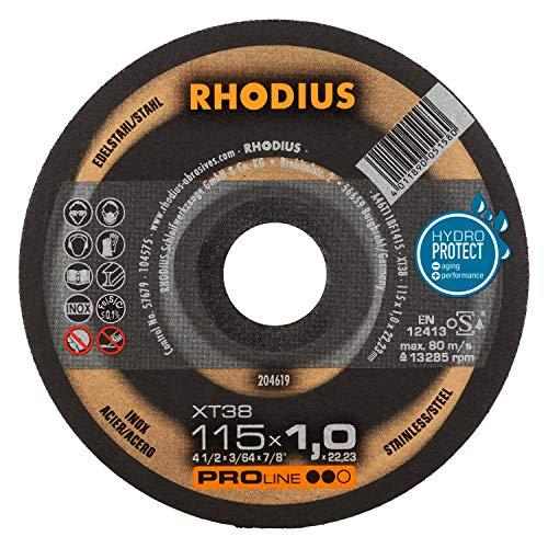 RHODIUS extra dünne INOX Trennscheiben XT38 Made in Germany Ø 115 x 1,0 mm für Winkelschleifer Metalltrennscheibe 10 Stück