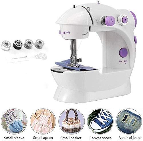 ATRNA beweegbare naaimachine, elektrische naaimachine, 2 met variabele snelheid draagbare huishoudmachine kleermaker, klein multifunctioneel systeem, valt in de kop paars