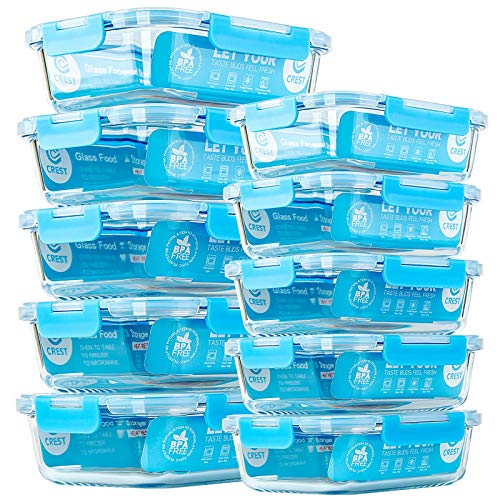 Glas-Mahlzeit-Vorbereitungsbehälter, [10 Stück] Glas-Frischhaltedosen mit Deckel, luftdichte Glas-Bento-Boxen, BPA-frei und auslaufsicher (10 Deckel und 10 Behälter)