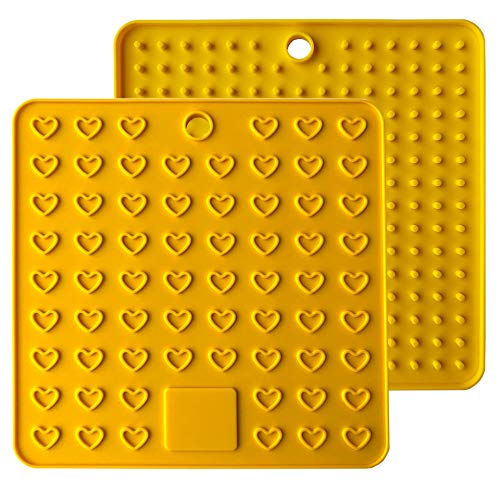 AINAAN 2 Pcs Square Premium Silicone Pot Holder,Trivets, Mitts,Heat Resistant Hot Pads, 7.28 Inch, Yellow