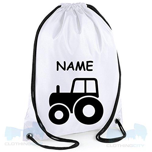 Occasions Direct-Borsa con chiusura a cordoncino, motivo: trattore nome: PE-BG5 scuola bianco