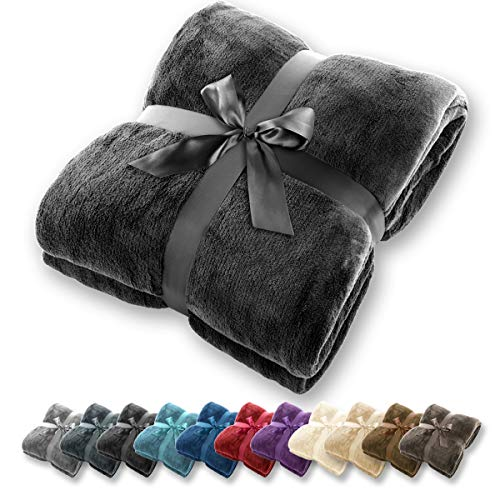 Gräfenstayn Coperta morbida - tante dimensioni e colori diversi - coperta in microfibra da soggiorno copriletto copri divano - vello in microfibra di flanella (Nero, 200x150 cm)