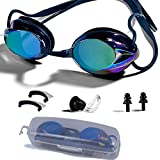 NewXLT Swimming Goggles, Adjustable Swim Goggles Anti Fog UV Protection Triathlon with Free Protection Case Ear Plug Nose Clip & Protective Case for Women Men Adult Youth Kids (8+)