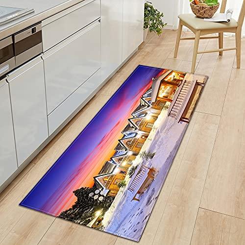 OPLJ Alfombrillas de Cocina, decoración navideña para el hogar, alfombras de Entrada para la Sala de Estar del Dormitorio, alfombras de baño Antideslizantes A3 50x160cm