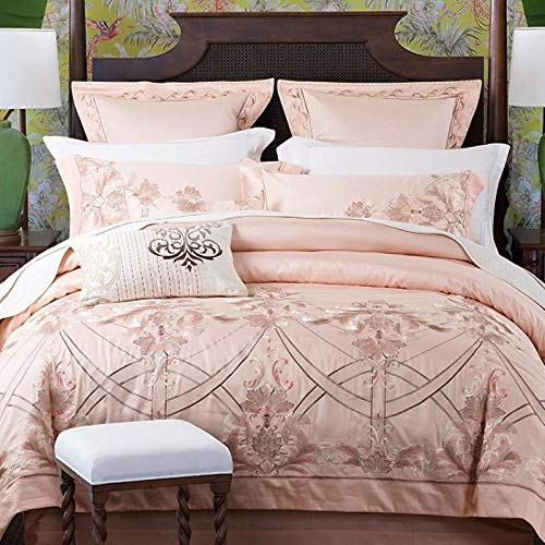 MZW Embroidery Egyptian Cotton Bedding Set Queen King size Bed set Duvet cover Bed/Fitted sheet,4,King size 4pcs