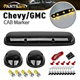 Partsam 3X Smoke Cover Cab Roof Top Marker Lights+5050 2825 Amber LED Bulbs Compatible with Chevrolet...