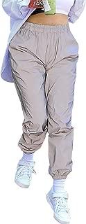 Tyjie Womens Harem Cargo Pants, Mid Waist Night Reflective Trousers Hip-Hop Style Gray