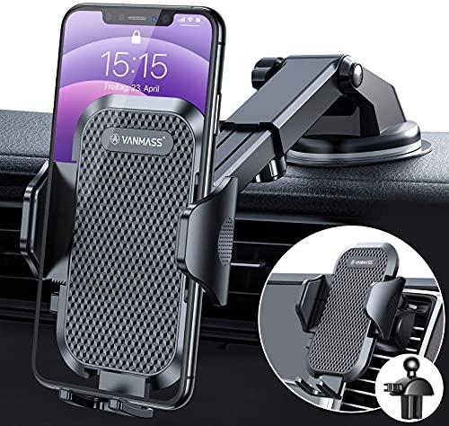VANMASS Handyhalterung Auto kfz Handyhalterung auf Armaturenbrett Windschutzscheibe Lüftung 2021 Upgrade Version Smartphone Halter Universal für iPhone 12 Pro/11 Samsung S20/ S10 Huawei Xiaomi LG usw