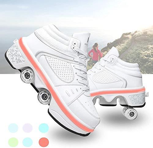 2 in 1 Roller Skates Inline Skates Multifunctional Deformation Shoes with LED Light Bar USB Charging Four Detachable Wheels Easy Travel,bianca-EU35/UK2