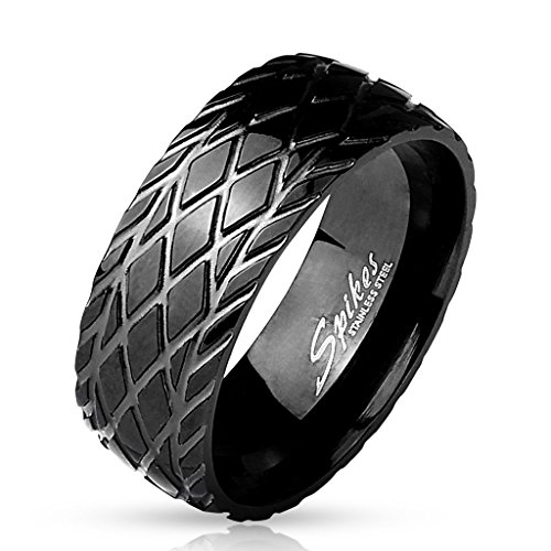 BlackAmazement, anello in acciaio inox 316L, taglio a diamante, scanalato, profilo pneumatico, avvitatore per motociclista, nero da uomo e Acciaio inossidabile, 20