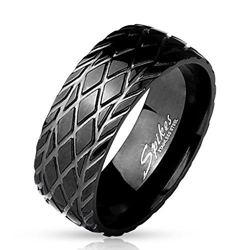 BlackAmazement 316L Edelstahl Ring Diamantschliff gerillt Reifenprofil Profil Schrauber Biker Schwarz Herren (65 (20.7))