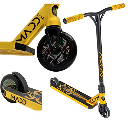 MADD MGP Gear Kick KAOS Stunt-Scooter H=84cm 120mm Hologramm Hollowcore Rollen schwarz/Gold + Fantic26 Sticker