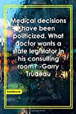 Medical decisions have been politicized. What doctor wants a state legislator in his consulting room? -Garry Trudeau: Notebook with Unique Raining ... & Notebook|Gift Lined notebook|Rain|120 Pages