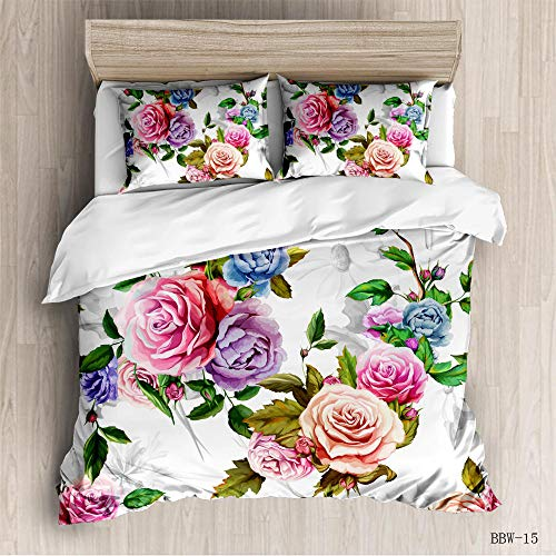 CURTAINSCSR Duvet Cover King Size Flowers Printed Polyester Bedding Set with Zipper Closure Quilt Cover Set+2 Pillowcases Easy Care Anti-Allergic Soft & Smooth Apply to Boy Girl Bedroom