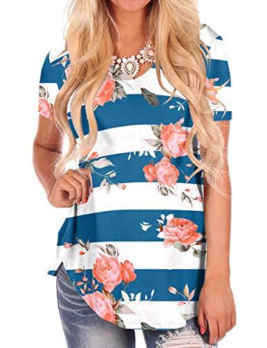 Women Tees Casual Summer Tops Floral Short Sleeve V-Neck T-Shirt Rose Print Blue