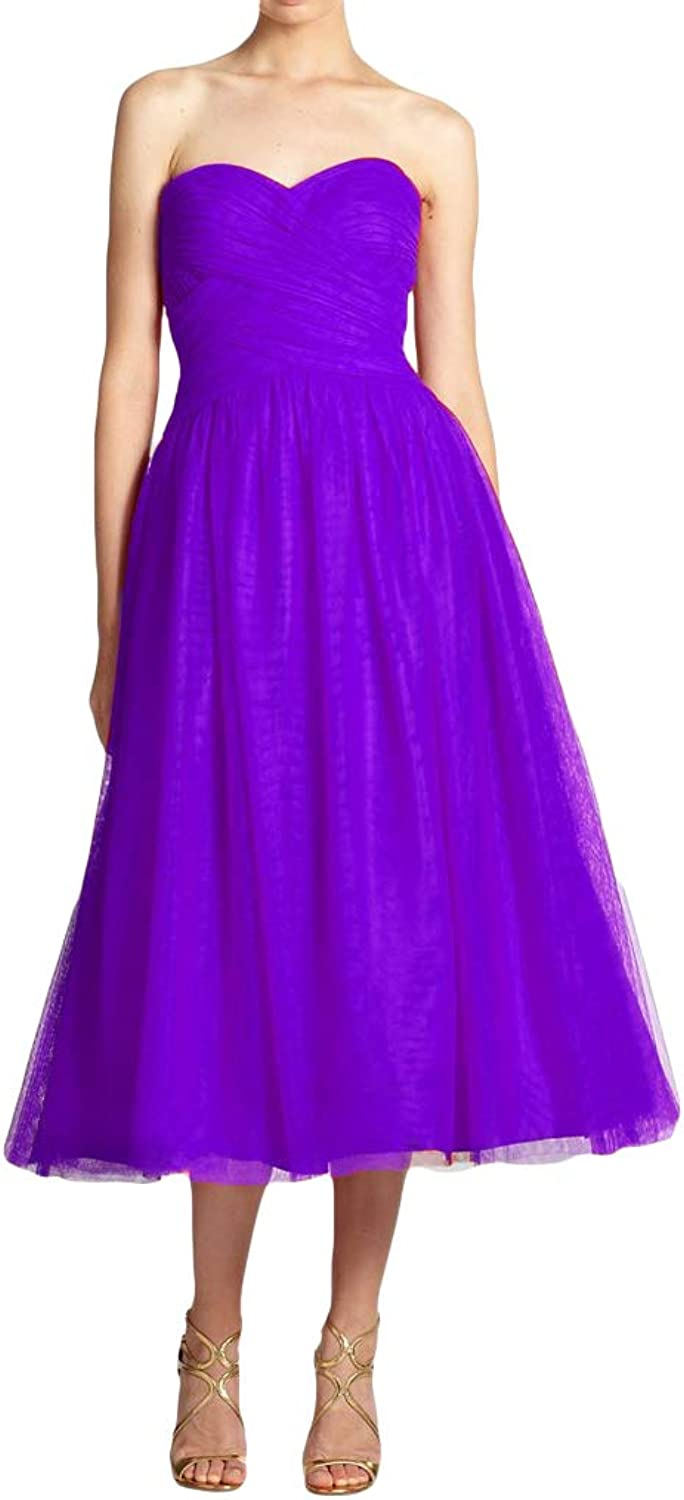 Dreagel Sweetheart Neckline Prom Dresses Tea Length Ruched Tulle Bridesmaid Dress