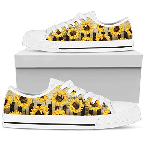 R. Malone Piano Sunflowers Low Top Shoes Gift Idea for Women Who Love Music and Sun Flower
