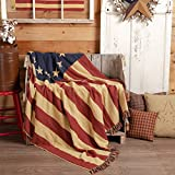 VHC Brands Seasonal Pillows & Throws-Old Glory Woven Throw, 50' x 60', Americana Red