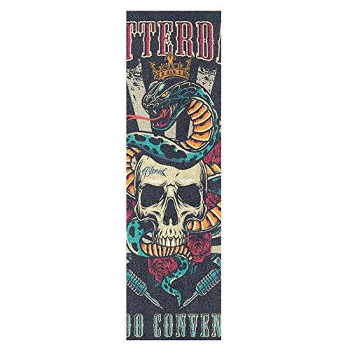 Zuckerschädel Vintage Schlange Skateboard Griffband Sandpapier Griptape Rutschfestes Blasenfrei Blatt 1 Stück Longboard Aufkleber Scooter 22,9 x 83,8 cm