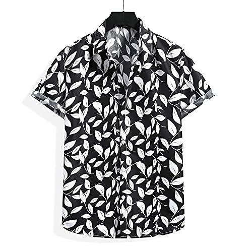Shirt Hombres Transpirable Básico Botón Placket Hombres Shirt Ocio Regular Fit Summer Creative Print Manga Corta Hombres Playa Shirt Trend Daily Hombres Shirt Hawaiana F-Black XL