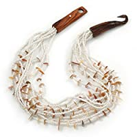 Avalaya エスニック マルチストランド ホワイト/ヌードガラスネックレス 木製フック留め 長さ50cm