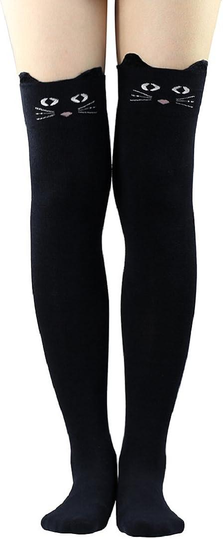 Polytree Women's 3D Cartoon Animal Pattern Knee High Socks (Black)