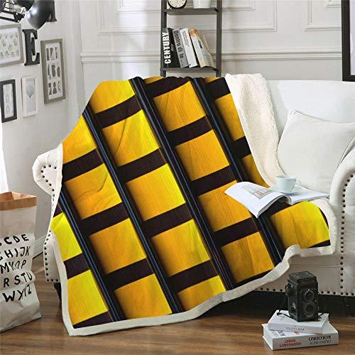 NSWSYDM Adulto Niños Microfibra sofá de la Manta 3D Cuadrado Negro Amarillo Manta Estampado Caliente Suave Franela, para Ropa de Cama, Sofá, Camping, Viajar Mantas 150x130 cm