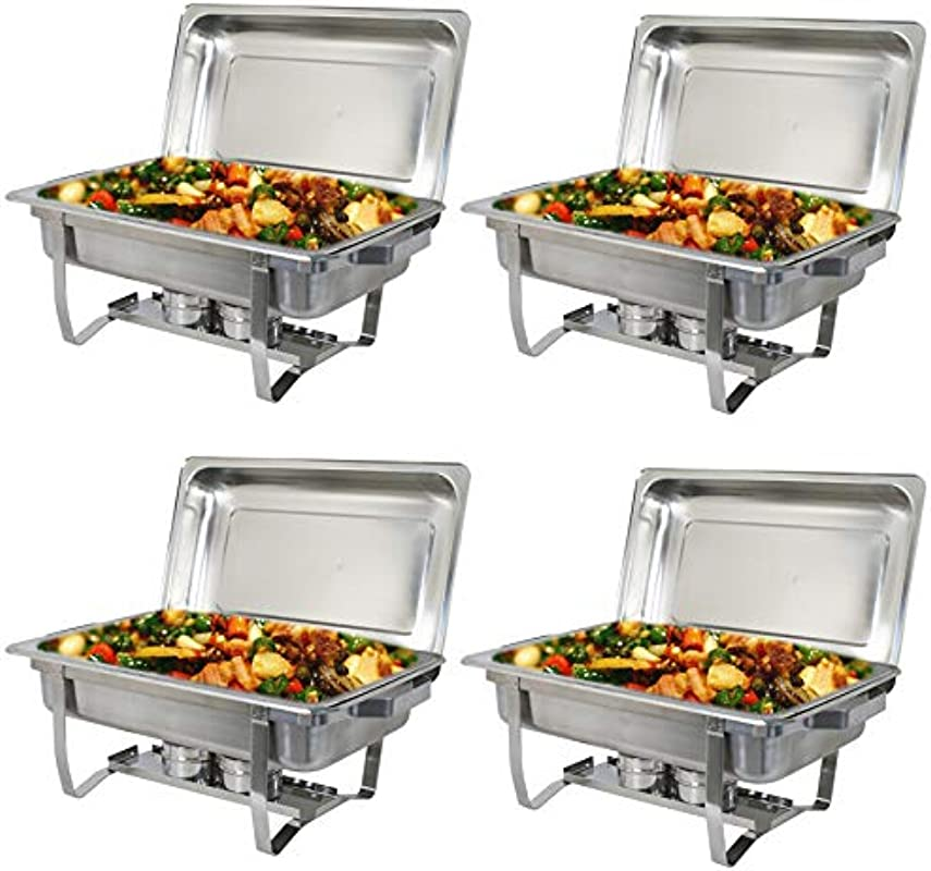 ZENY Pack Of 4 Chafing Dish 8 Quart Full Size Stainless Steel Complete Chafer Set With Water Pan And Chafing Fuel Holder