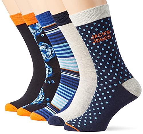 JACK und JONES Herren JACBLUEIS 5 PACK Socken, Black/Detail:Galaxy blue-Navy blazer-Black-Light grey melange, (5er Pack)