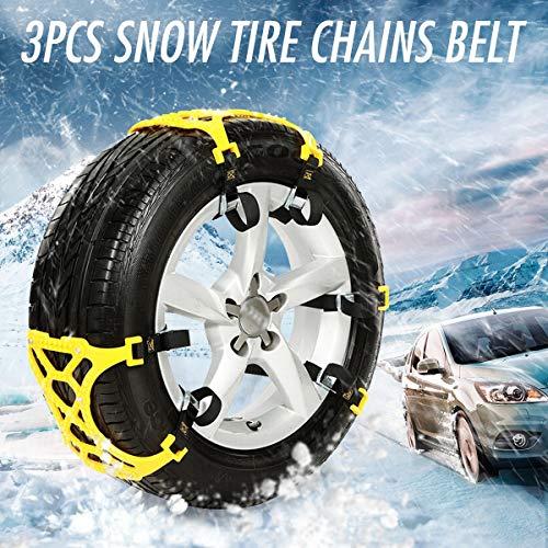 JIAHONG Cadenas de neumáticos de Cadenas de nieve TPU 3pcs Traje coche universal 165-265mm neumático de invierno Seguridad en las carreteras de Neumáticos Cadenas de nieve Escalada barro de tierra Ant