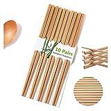 Palillos Reutilizables Chinos Chinos Palillos de Bambú Natural 9.8 '/ 25 cm Light Lightweight Chopstick Set para el restaurante Comer Cooking -10 Pares Conjuntos de regalos Lavavajillas Safe Japaess S