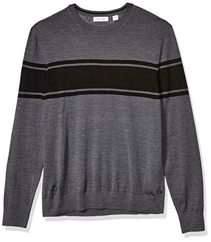 Calvin Klein Mens Merino Sweater Crew Neck, Steel Gray Heather black Stripe, Medium
