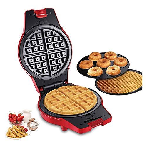 LKOPYUo Waffle Maker 3 en 1 Multi Treat - Máquina para Hacer donas eléctrica Máquina para Hacer Pasteles/gofres, Rollo de Huevo para el Desayuno Platos Calientes antiadherentes extraíbles, Envoltura