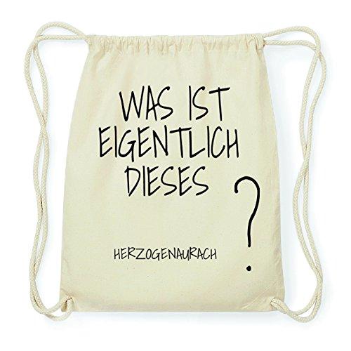 JOllify HERZOGENAURACH Hipster Turnbeutel Tasche Rucksack aus Baumwolle - Farbe: Natur – Design: was ist eigentlich - Farbe: Natur