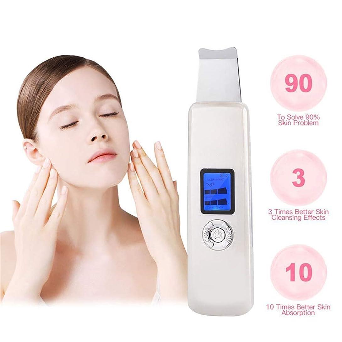 クリアアレルギー性じゃがいも顔の皮膚のスクラバー携帯用SPS鈍い角質の角質の死んだ皮膚のにきびしわにきび超音波顔のスクラバースキンケア機でLEDスクリーンの深さの穴の洗浄美容洗浄器具USB充電