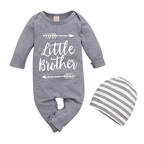 URMAGIC Neugeborene Baby Jungen Little Brother Bodysuit Outfits Kleinkind Jungen Striped Print Langarm Strampler Jumpsuit mit Hüten