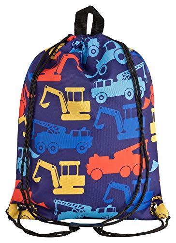 Aminata Kids - turntas voor kinderen voor jongens met bouwvoertuigen brandweerauto 's sporttas gymtas sporttas tas tas bont donkerblauw geel rood