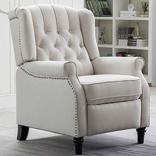 CANMOV Elizabeth Fabric Arm Chair Recliner with Tufted Back, Push Back Recliner Chair for Living Room, Bedroom, Home Theater Seating w/Padded Seat and Nailhead Trim, Wooden Legs, Beige