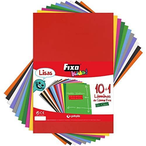 Fixo Kids 36399. Bolsa de 10+1 Láminas de Goma EVA de 2 mm y Una de 5mm de Espesor, Rubber, Multicolor, 20 x 30 cm