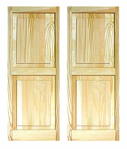 LTL Home Products SHP55 Exterior Solid Wood Raised Panel Window Shutters, 15 x 55 Inches, Unfinished Pine