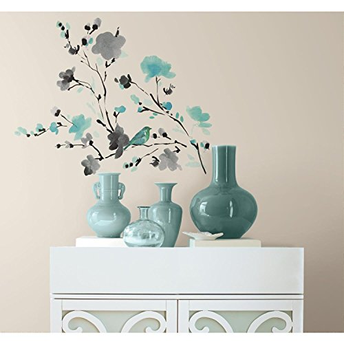 RoomMates RMK2687SCS Blossom Watercolor Bird Branch Peel And Stick Wall Decals, Multi Color