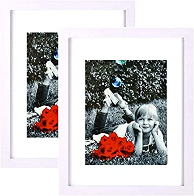 """Tasse Verre 9x12 Inch Picture Frame - HIGH Definition Glass Front Cover - Displays 9 by 12"""" Picture w/o Mat or an 6x8 Photo w/Mat - Vertical or Horizontal & Comes Ready to Hang"""