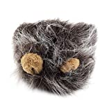 Pudincoco Encantadora Disfraz de Mascota Leones Melena Peluca para el Gato Fiesta de Navidad de Halloween Vestir con Oreja Ropa para Mascotas Gato Vestido (Gris Oscuro)
